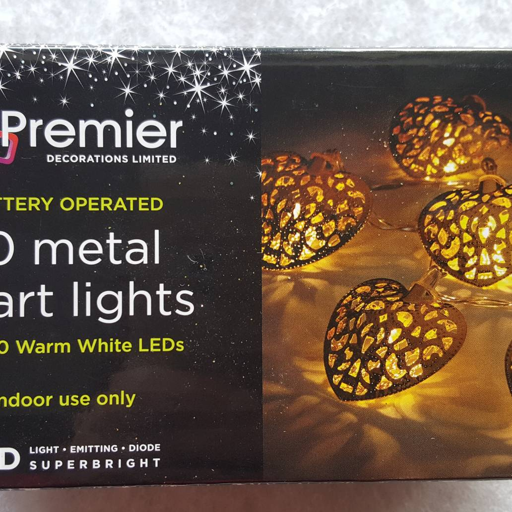 Premier 6cm B-O Gold Metal Heart Light with 10 Warm White LEDs