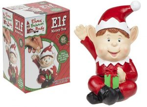 10 inch Red Jumbo Polystone Hand Painted Elf Money Box