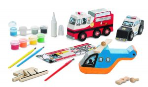 Rescue Vehicles Wooden Craft Kit - Decorate-Your-Own Police Car, Fire Truck, Helicopter