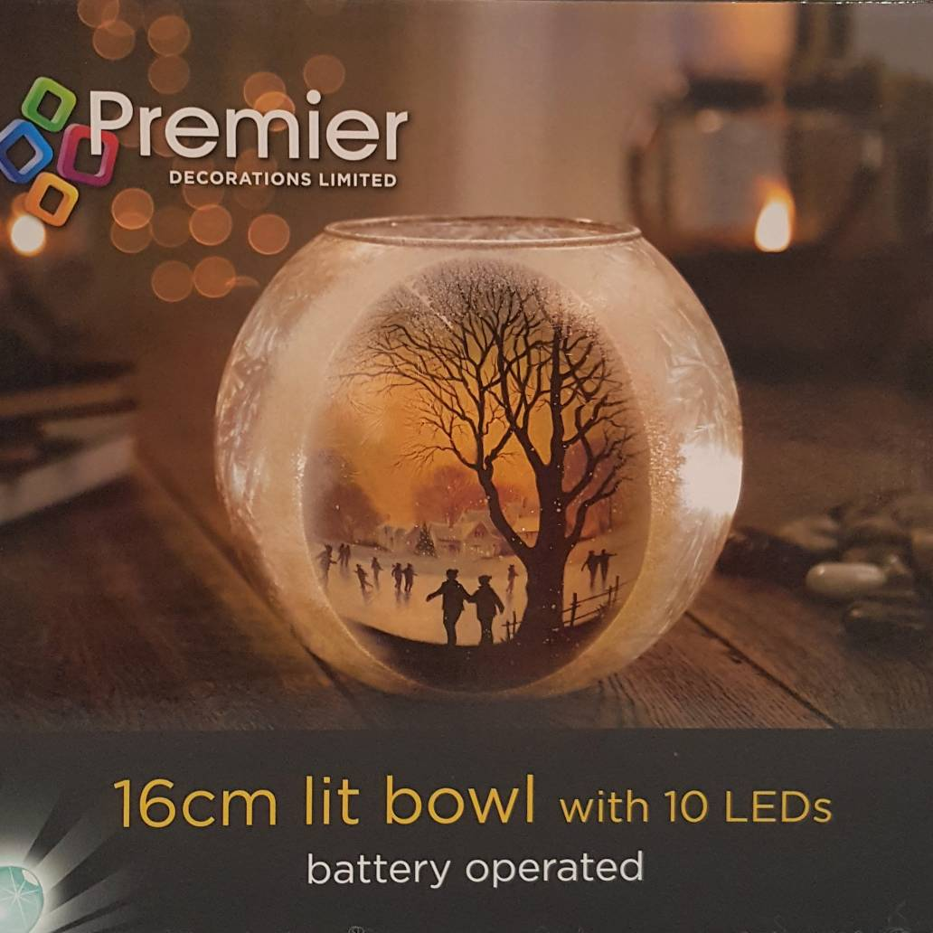 Premier 16cm B-O Lit Bowl Trees Printed Scene 10 White LED