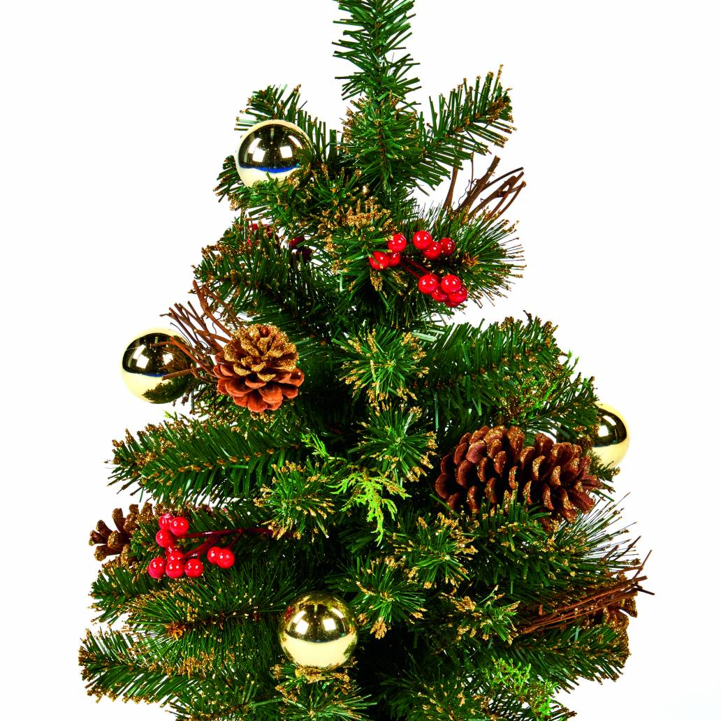 60cm (2ft) Decorated Christmas Tree - Gold