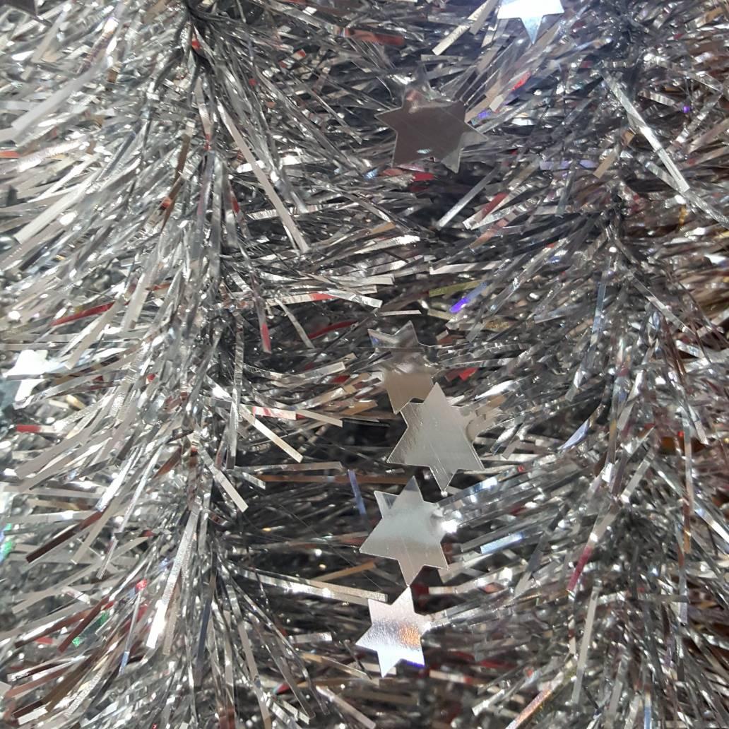 Festive 2m x 100mm Die Cut Star Tinsel - Silver