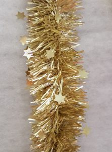Festive 200cm x 10cm die cut star tinsel - matt champagne