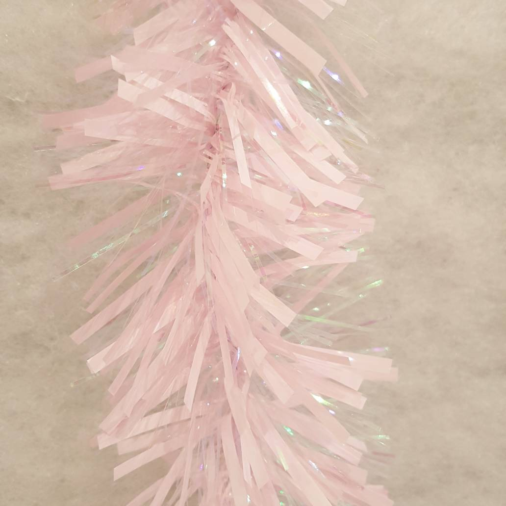 Festive 200cm x 10cm chunky cut tinsel - Let It Snow Pink