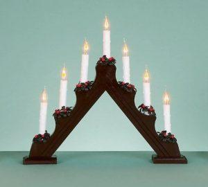 Premier 7-Flickering Bulb Dark Wood Candlebridge