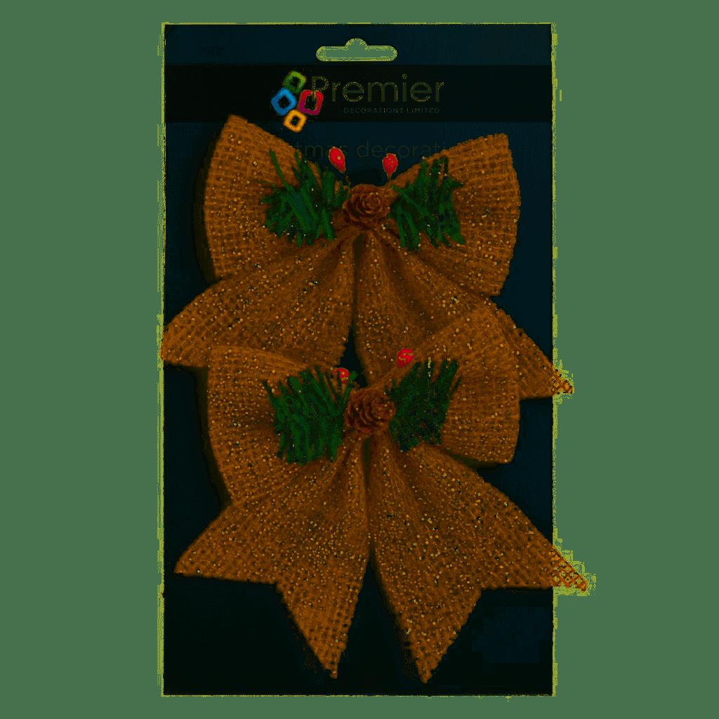 Premier 2pcs 14x12cm Gold Natural Bow w Pine - Cone