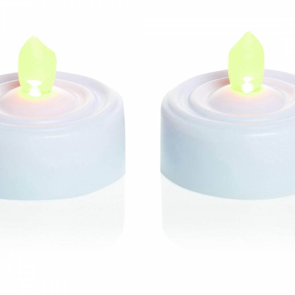 Premier 6 x Flickering LED Tea Lights in Acetate Tube - White