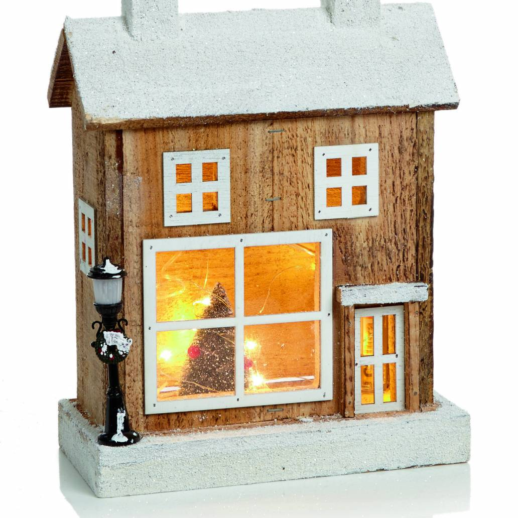 32cm Lit Wooden House Scene with 15 Copper Wire Lights