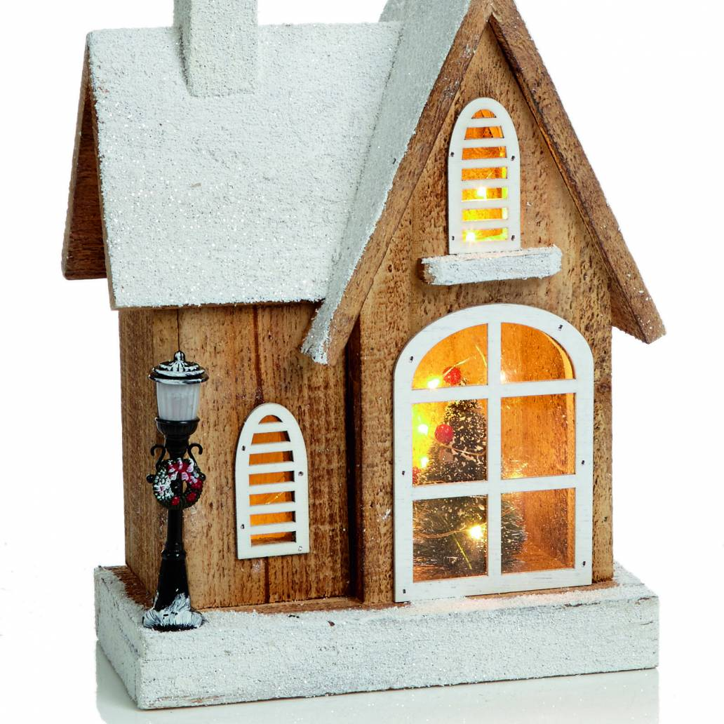 30cm Lit Wooden House Scene with 15 Copper Wire Lights