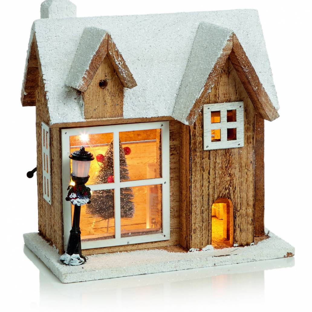 26cm Lit Wooden House Scene with 15 Copper Wire Lights