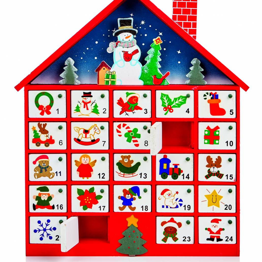 Premier 40cm Wood Advent Calendar House with 24 Doors