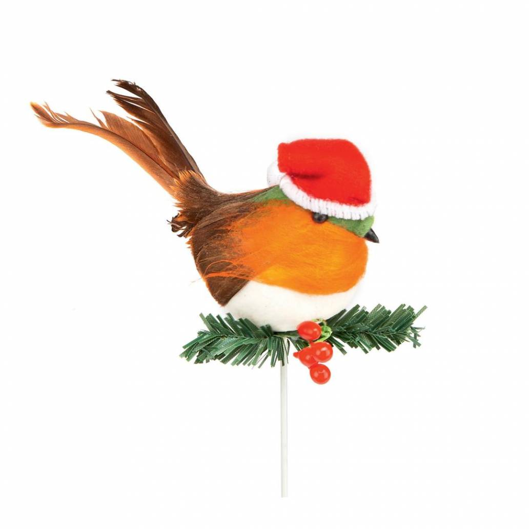 Premier 10cm Robin With Santa Hat Pick