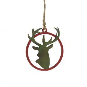 Festive 10cm laser cut green reindeer head tree trim