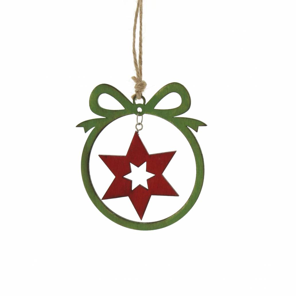 Festive 10cm Wooden Laser Cut Bauble With Red Star Cut Out