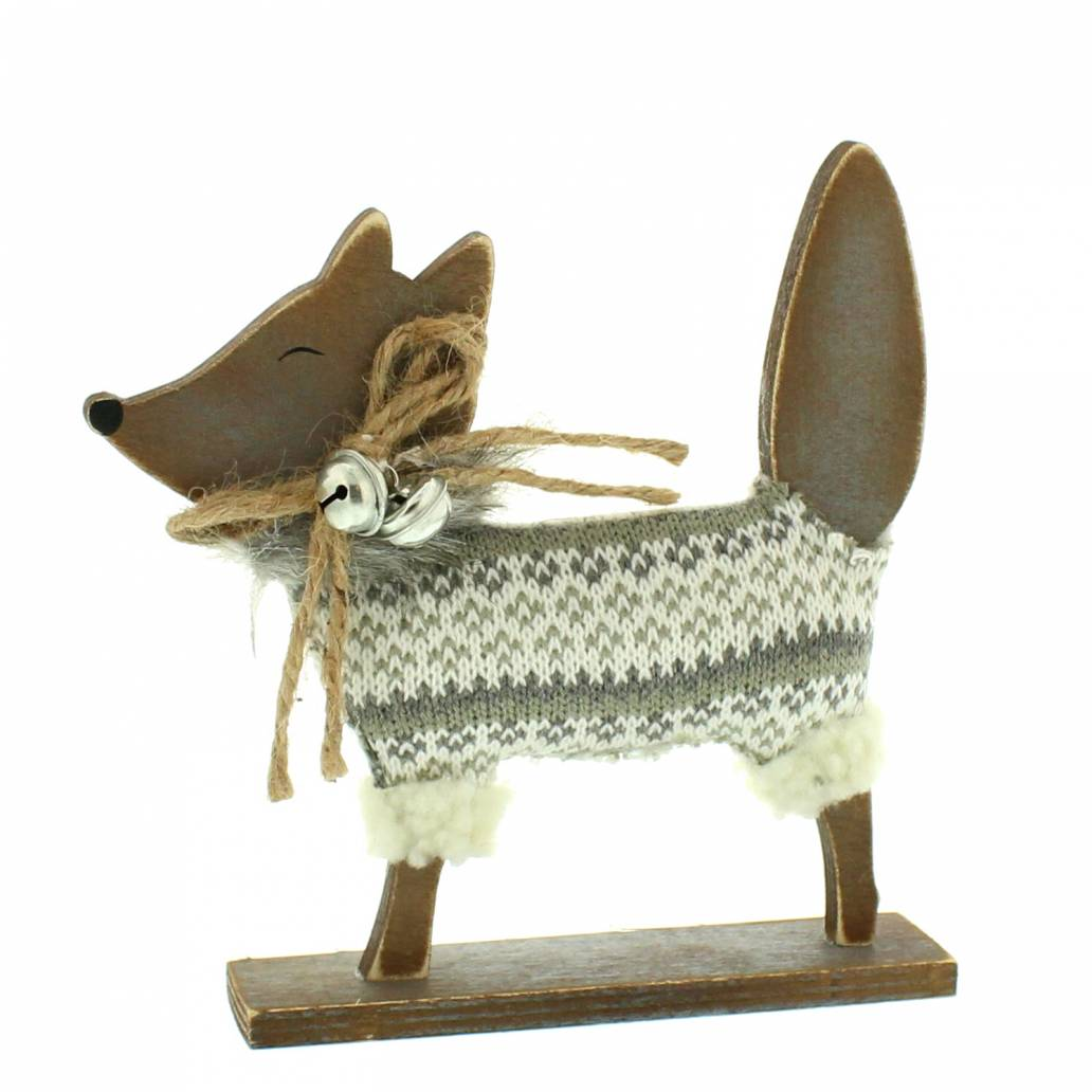 Festive 19cm wood standing fox with jumper