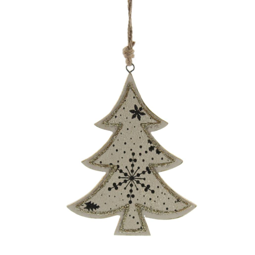 Festive 11cm wooden tree dec with snowflake print