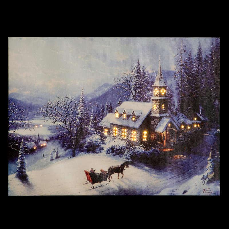 Snowtime 40x30cm Battery Powered F/O 'Sunday Church' Canvas