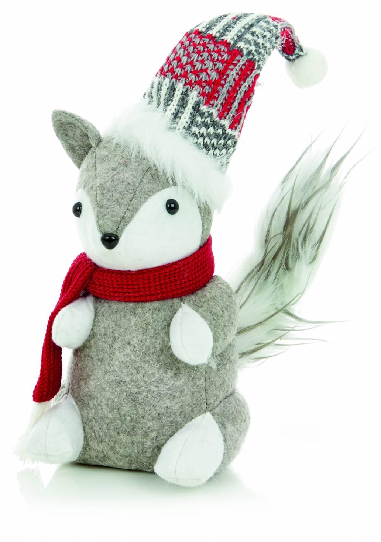 Premier 20cm Sitting Winter Fox - Grey/Red