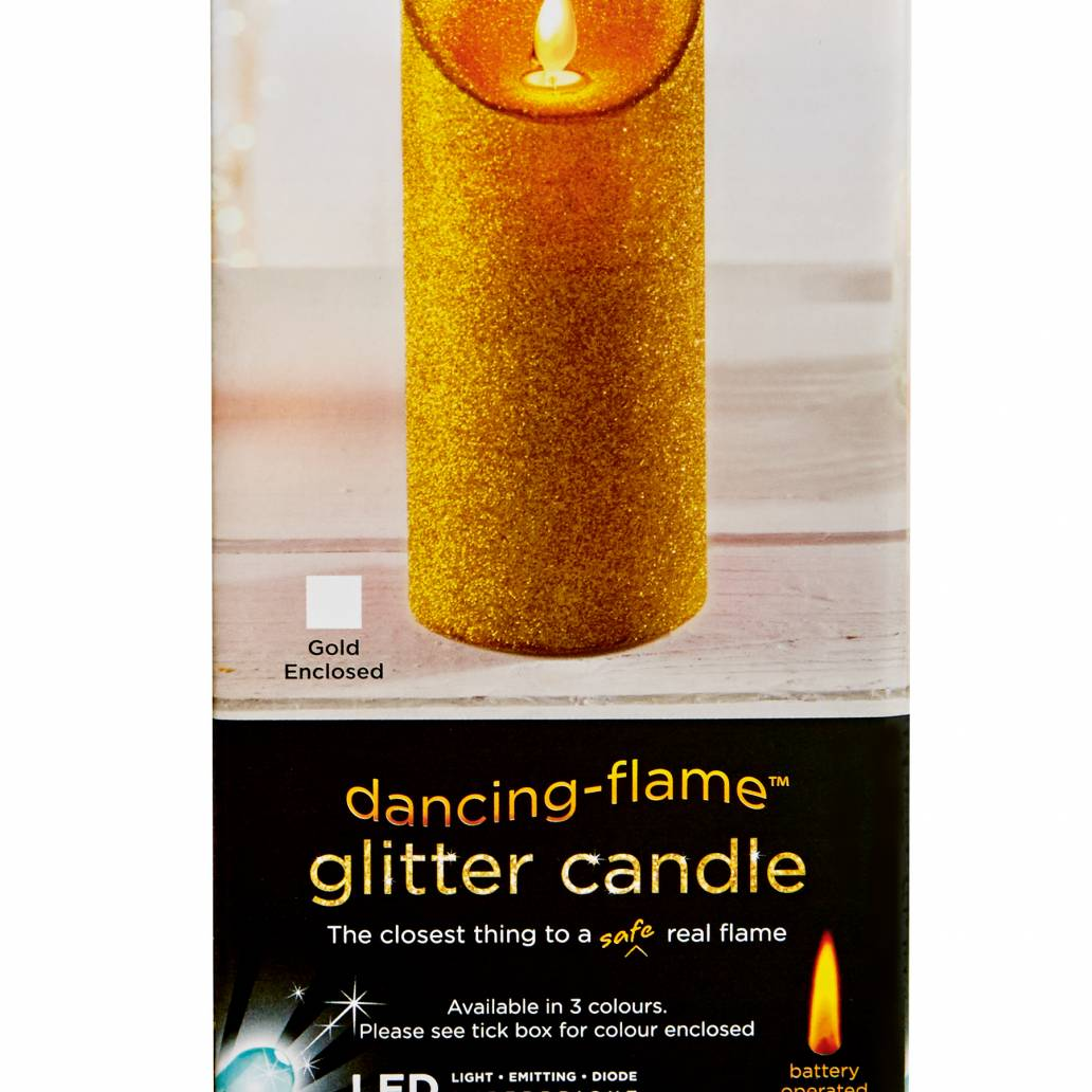 Premier 18x8cm Glitter Dancing Flame Candle - Gold