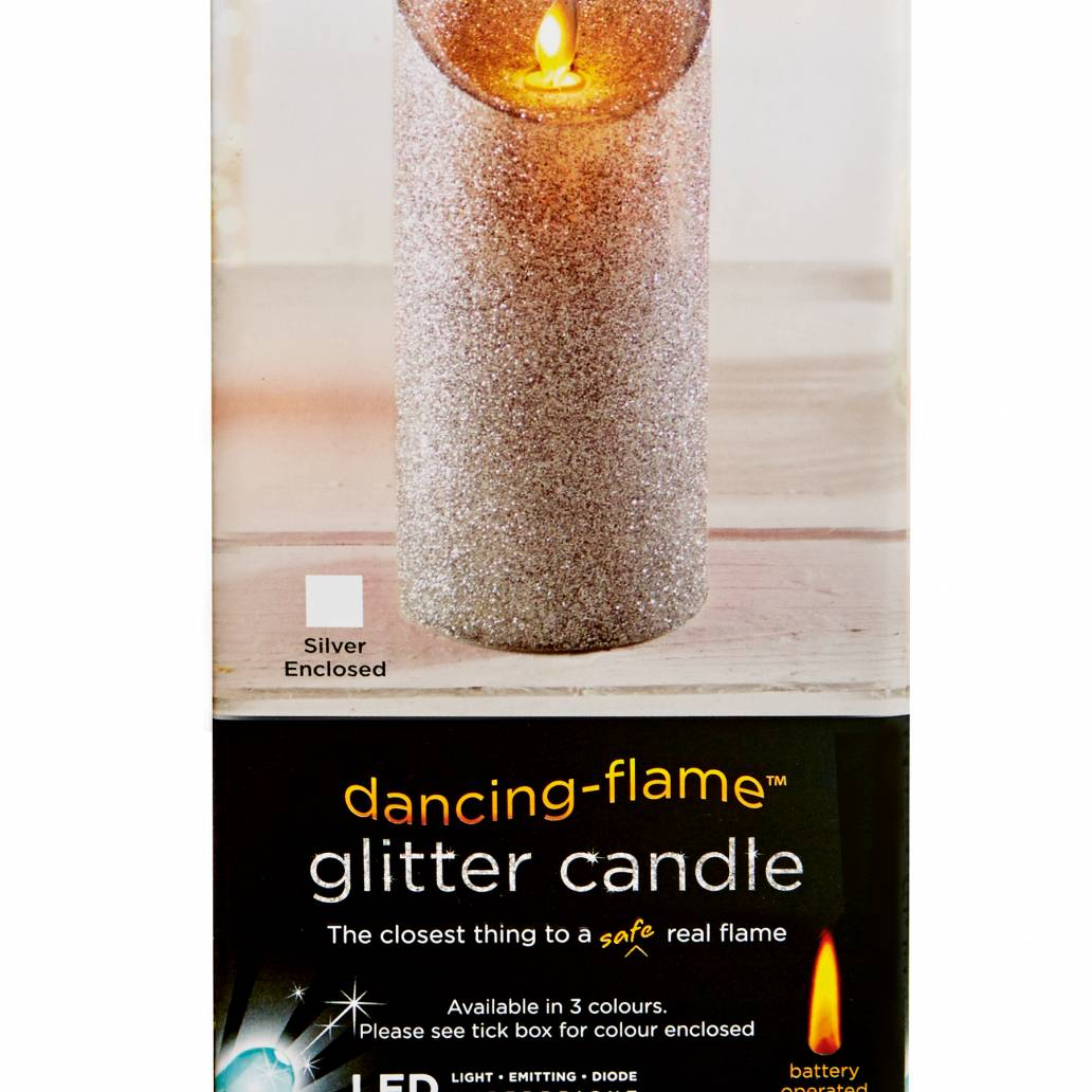 Premier 18x8cm Glitter Dancing Flame Candle - Silver