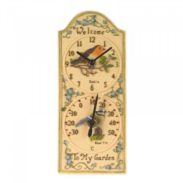 Smart Garden Birdberry Wall Clock & Thermometer