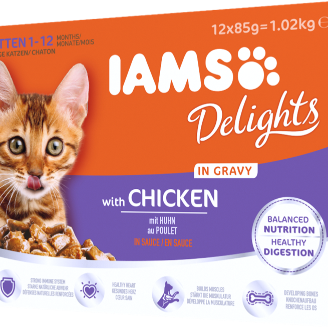 Iams Delights Cat Food Pouches - Kitten (Chicken In Gravy) 12x85g