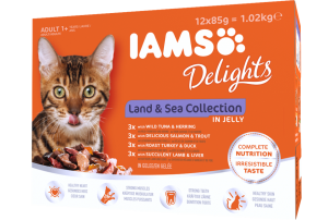 Iams Delights Cat Food Pouches - Land And Sea Collection In Jelly 12x85g