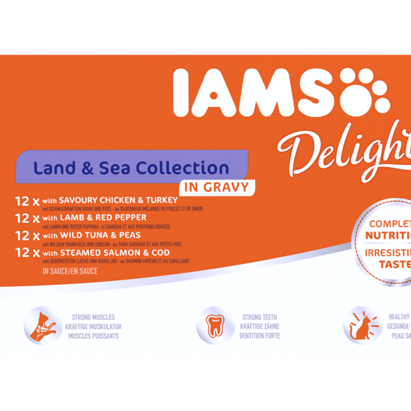 Iams Delights Cat Food Pouches - Land & Sea (In Gravy) 48x85g