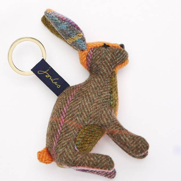 Joules Tweedle Novelty Tweed  Keyring - Brown Hare