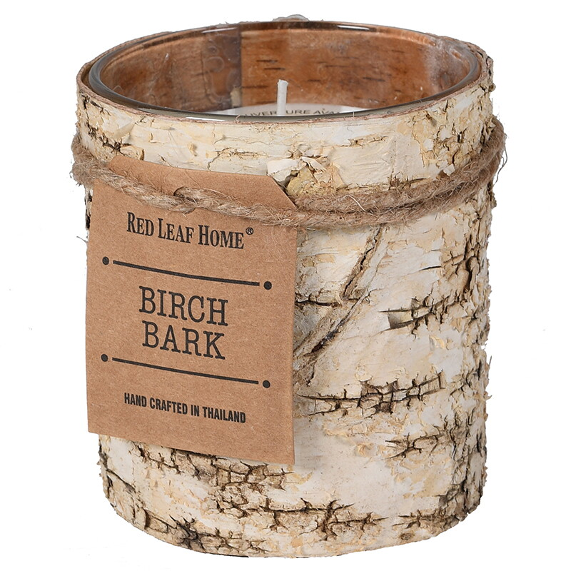 Birch Bark Candle In Glass - Small