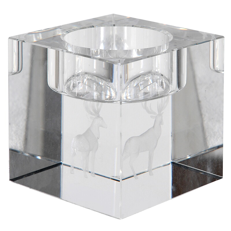 Frosted Deer Crystal T-Light Holder