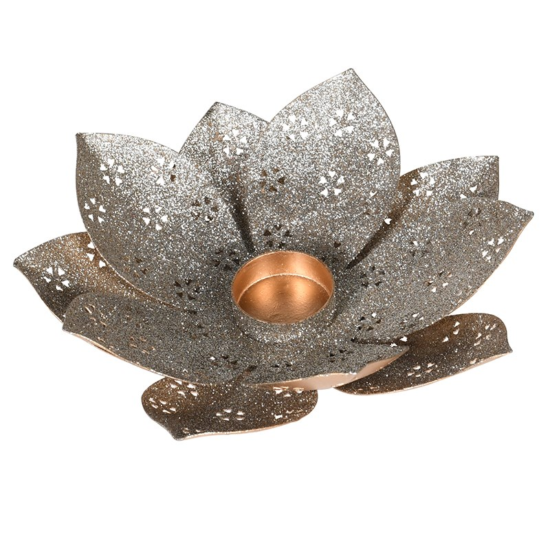 C/H Gold Glitter Flower Votive