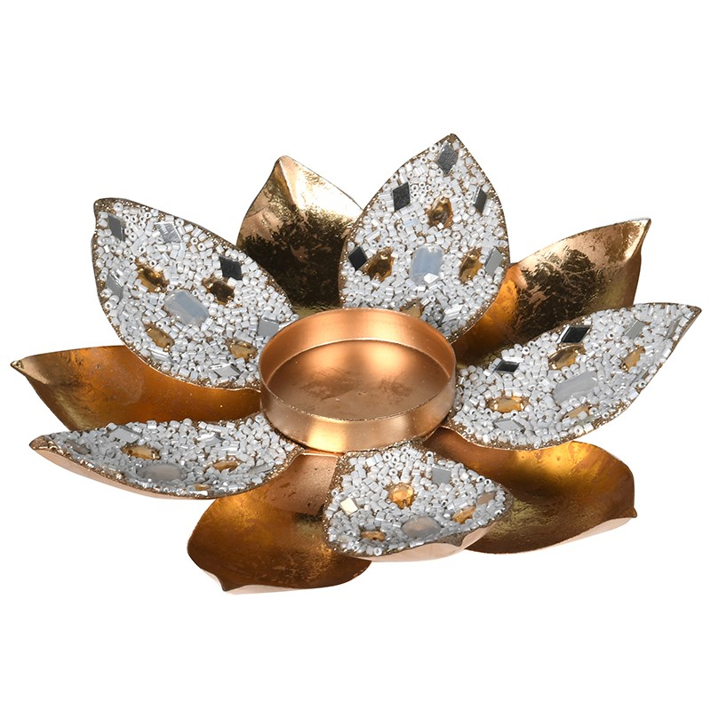 C/H Gold Jewel Flower Votive