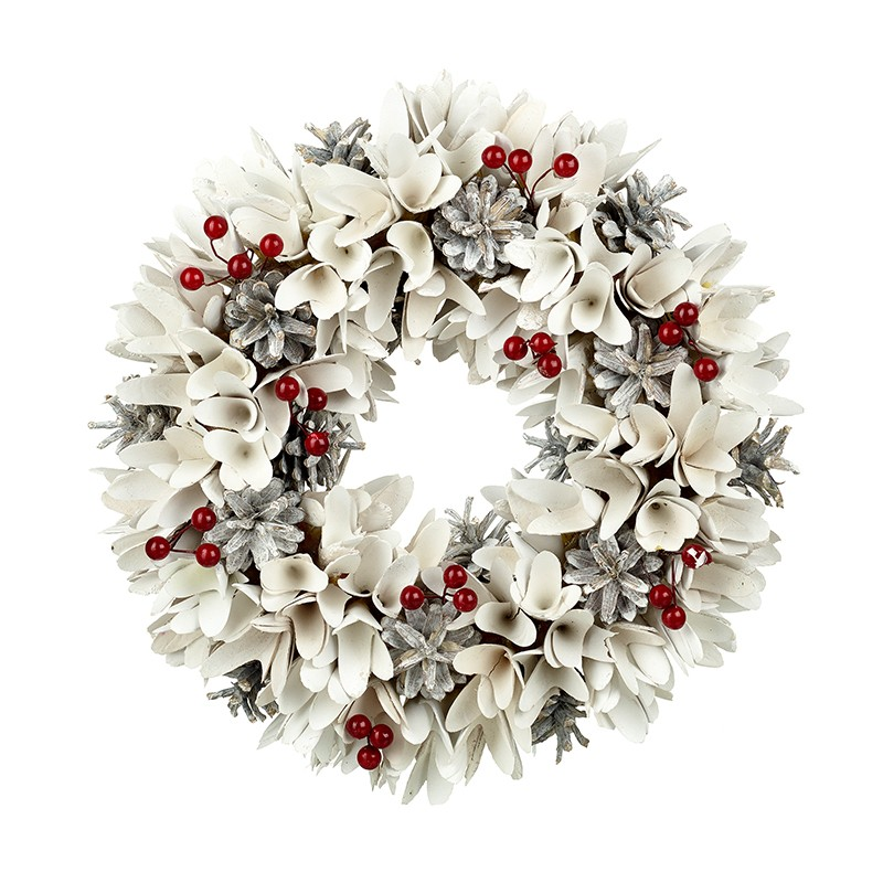 Heaven Sends White Wreath With Red Berries