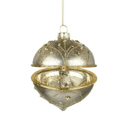 Heaven Sends Hanging Glass Bauble With Gold Rim