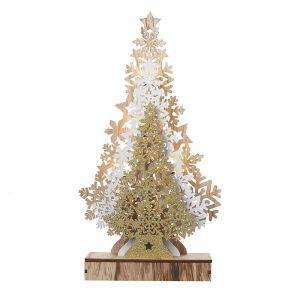 Heaven Sends Light Up Gold Bronze & White Tree