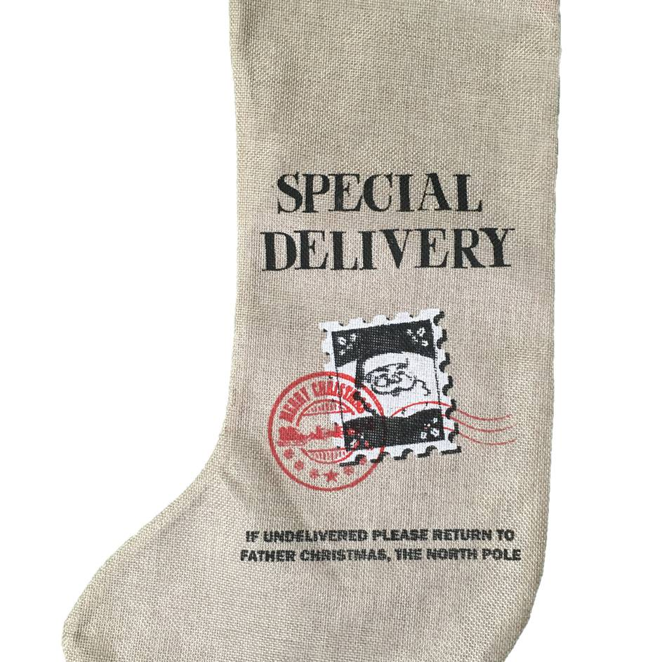 Festive 50.8cm stocking with special delivery print