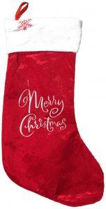 Festive 45cm plush velvet merry christmas stocking