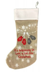 Festive 50cm hessian mittens stocking