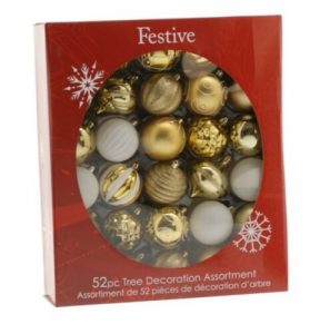 Festive 52 pc gold and white bauble pack