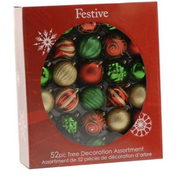 Festive 52 Piece Bauble Mega Pack - Red, Green and Gold