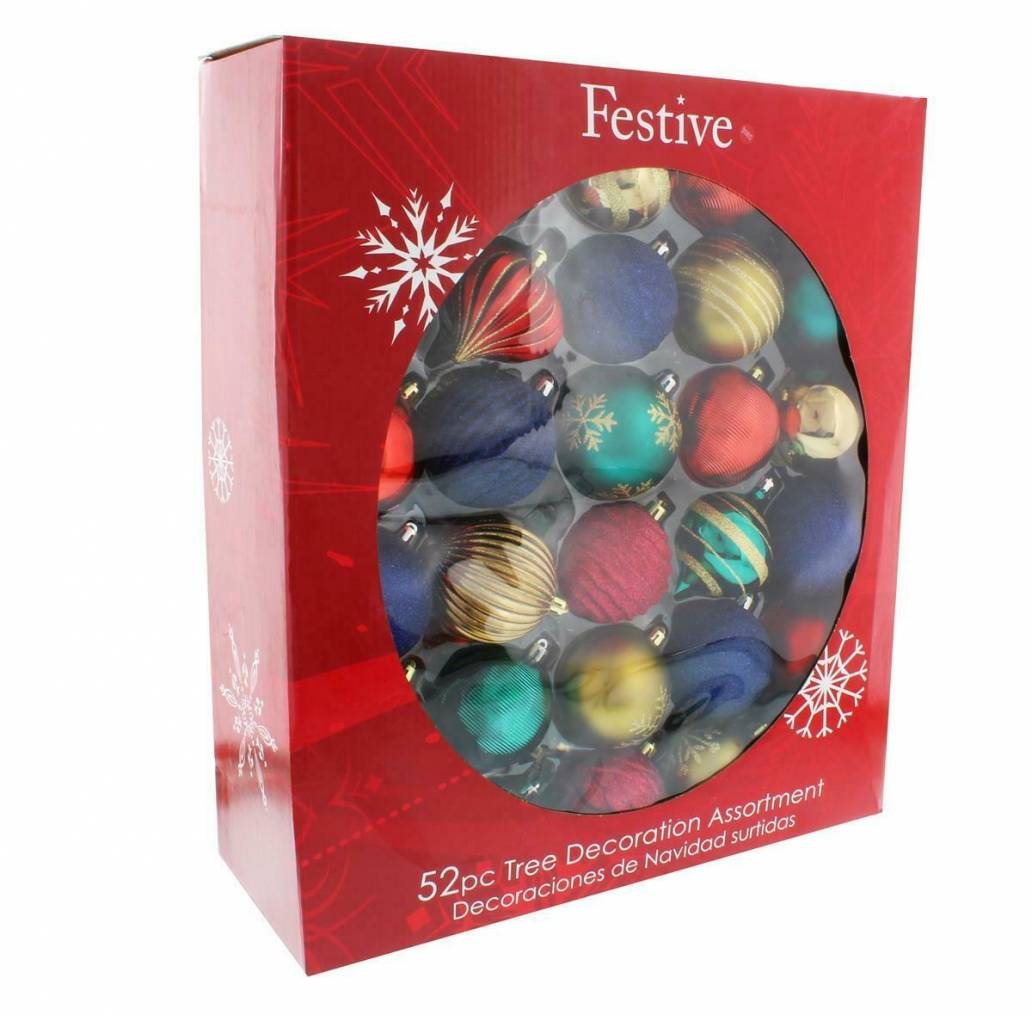 Festive 52 Piece Bauble Mega Pack - Red, Green, Blue & Gold