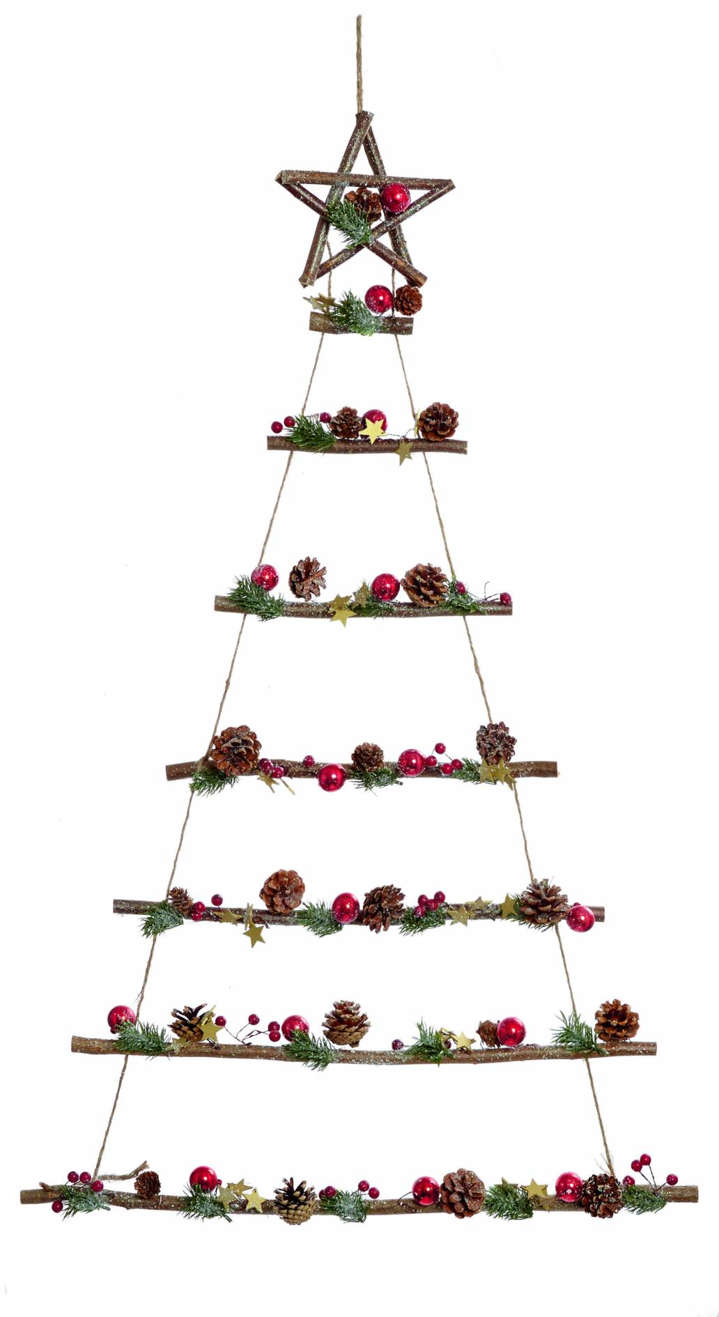 Premier 70x70cm Cone Pine Berry Traditional Hanging Tree Shape Decoration