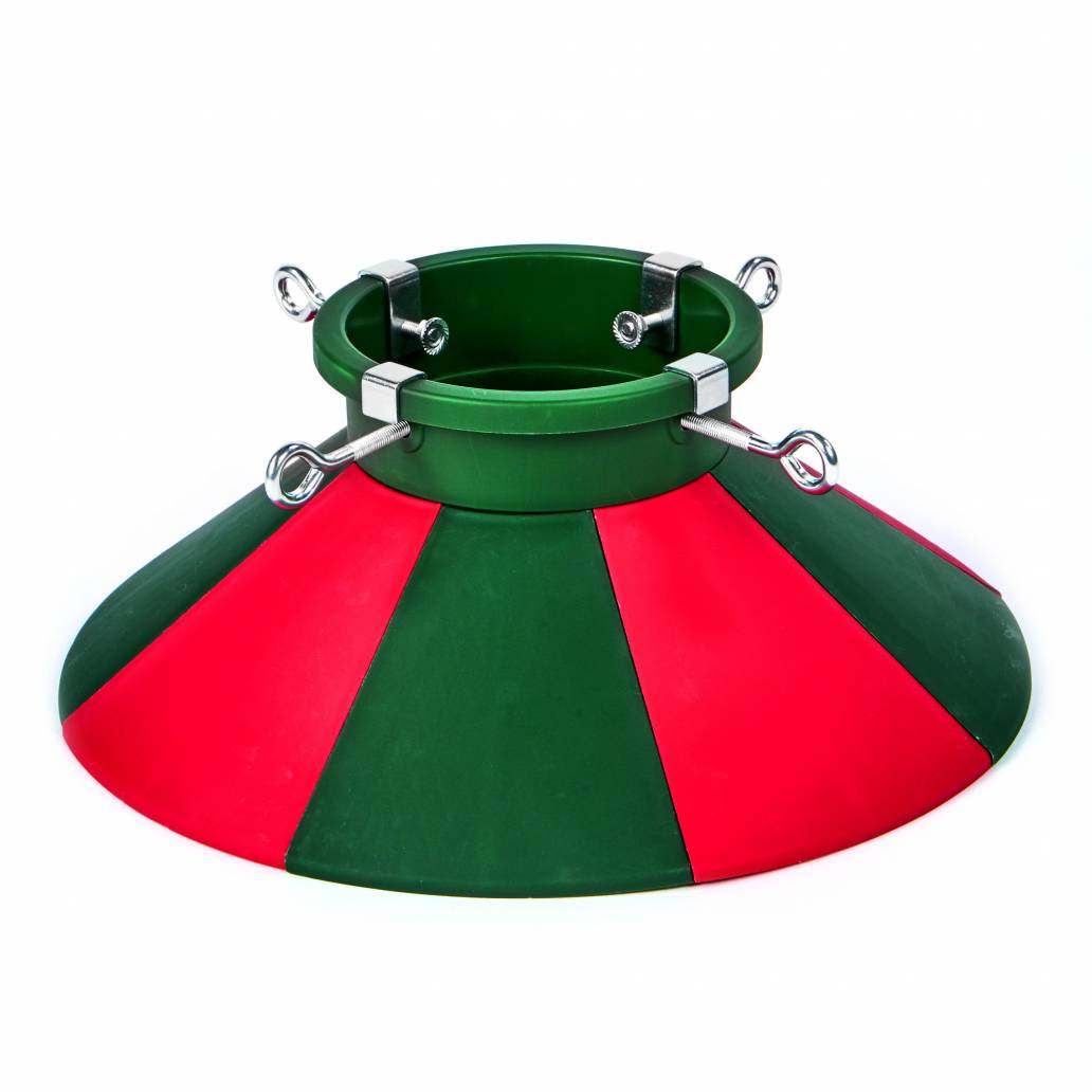 Premier 43cm Red And Green Real Tree Stand With Plastic Skirt