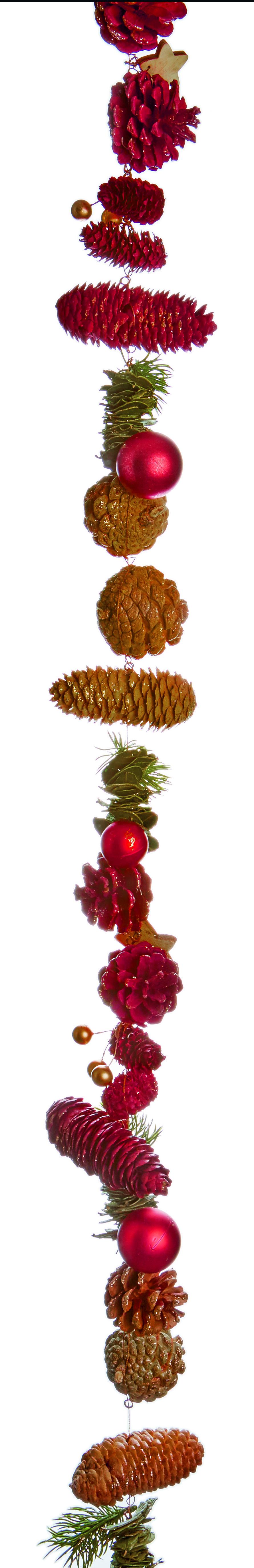 Premier 1.5m Natural Burgundy Cone w Glitter - Stars Garland