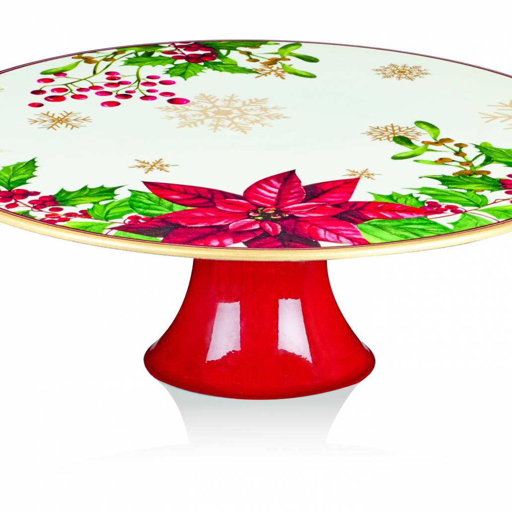 Premier 29x10cm Poinsettia Footed Cake Plate