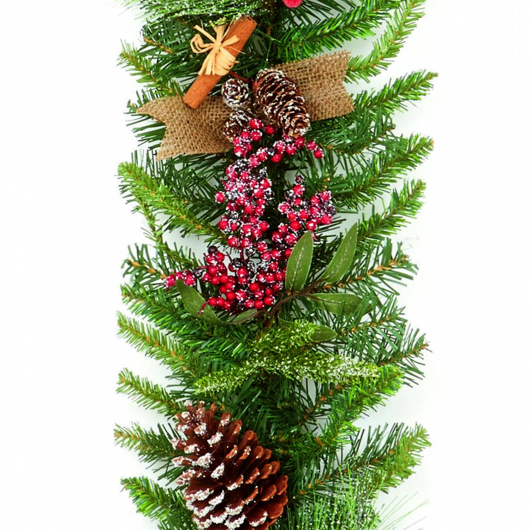 Premier 1.8m Natural Frosted Garland Berry Cone