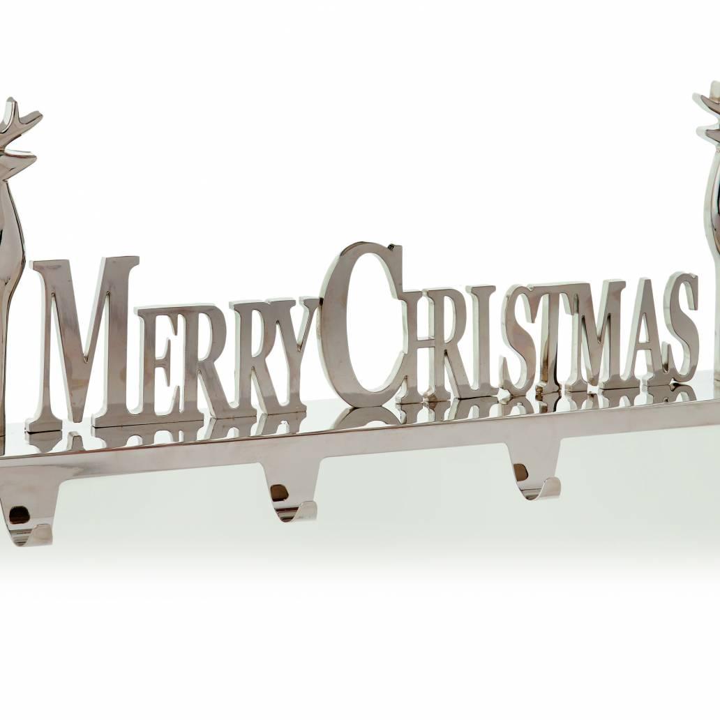 Premier 50cm x 18cm Merry Christmas w Reindeers -  4 Stocking Holder