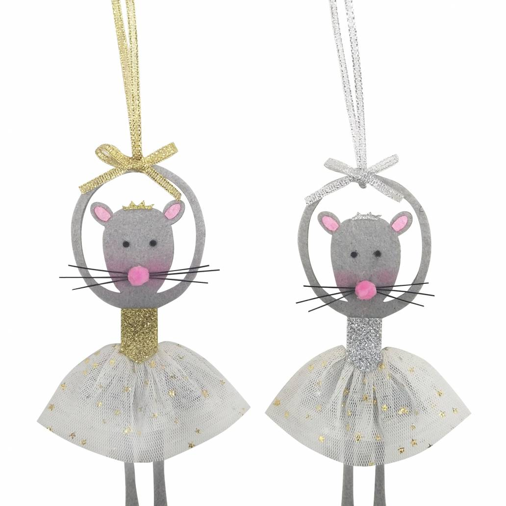 Festive 14cm Fabric Ballerina Mouse Hanging Decoration