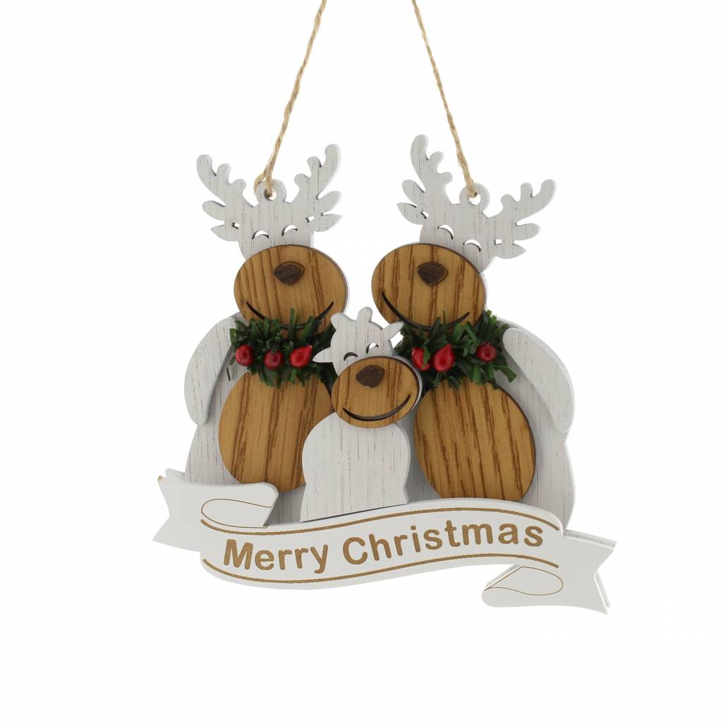 Festive 14cm Frosted Reindeer Family Hanging Christmas Decoration